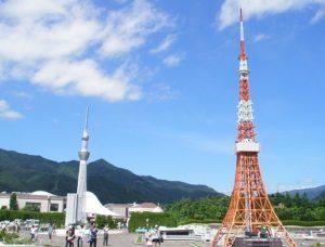 東京スカイツリーと東京タワーが並んでいます。